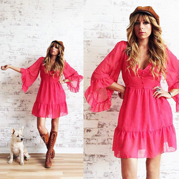 Vintage Fuscia Pink BELL SLEEVE Baby Doll Dress    Size Small