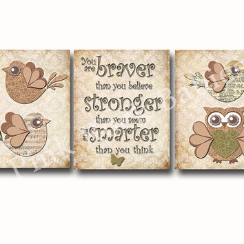 Neutral nursery, Baby girl room art, wall art for kids, children room decor, Braver than believe, Winnie Pooh quotes, Victorian nursery art