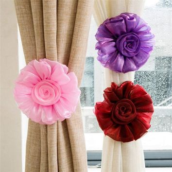 Art Lace Curtain cloth bind curtain clip Sunflower curtain buckle Curtain Flowers Home Decoration 1pc W50