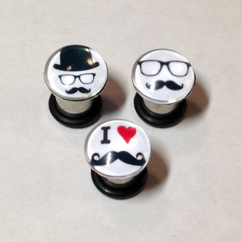 Mustache Picture Plugs & Earrings 14g-00g
