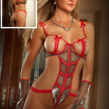 Red Cut-Out Bust Teddy Lingerie