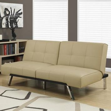 Futon - Split Back Click Taupe Leather-Look