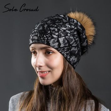 Sole Crowd Women's silver leopard print hats autumn winter knitted wool caps with raccoon fur pompon warm hat for female beanies