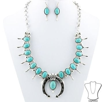Turquoise And Silver Squash Blossom Necklace