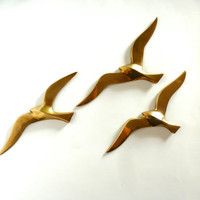Vintage Brass Birds in Flight Wall Hangings