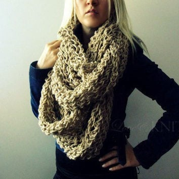 Beige Huge Loop Scarf by LoveandKnit on Etsy