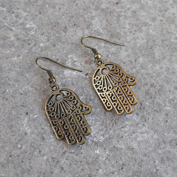 Protection, Antiqued Brass Hamsa, Hand Of Fatima Earrings