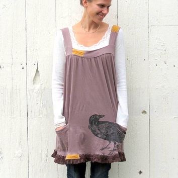 Funky Trapeze Dress , upcycled jumper , brown knit womens refashioned eco friendly clothing recycled size Med Lar bohemian by wearlovenow