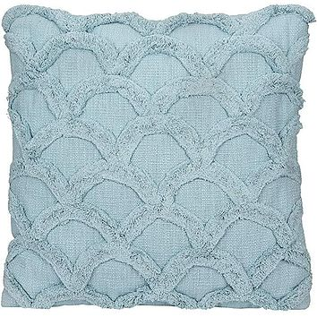 Cotton Chenille Scalloped Pillow - Light Aqua Blue - 18-in