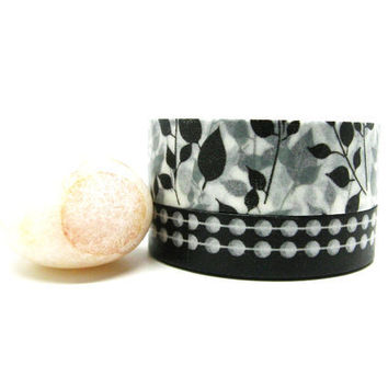 Black, White, Light Gray Leaves and Bubble Chains Washi Tapes Set of 2