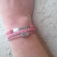 Pink Leather and Suede Love Charm Bracelet- Friendship Bracelet, Stack Bracelet, Leather Cuff, Braided Suede Bracelet