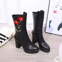 Fashion Embroidery Flower Women Black Mid-calf High Heels Platform Boots Genuine Leather Upper High Quality Ladies Sexy Shoes