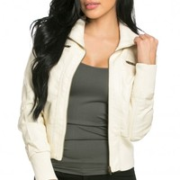 Faux Leather Bomber Jacket in Ivory