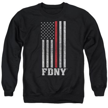 FDNY Sweatshirt Thin Red Line American Flag Black Pullover