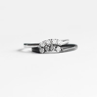 Curved Diamond Band in Sterling