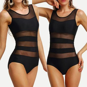 Sexy Women Swimwear One Piece Mesh Swimsuit Monokini Push Up Padded Bikini Beachwear Free Shipping Black Size S M L XL