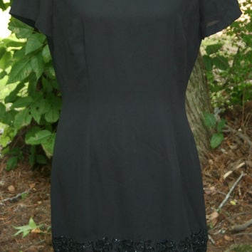 Short Sleeve Black Cocktail Dress Beaded Elegant Black Dress Black Crepe Dress Donna Morgan Size 10 Size 12 Medium Large Womens Clothing