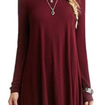Casual Red Shift Long Sleeve Dress
