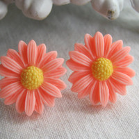 Pastel Pink Daisy Flower Whimsical Earring Posts 22mm