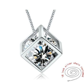 925 Silver Chain Square Zircon Pendant Necklace Rhinestone Women Jewelry