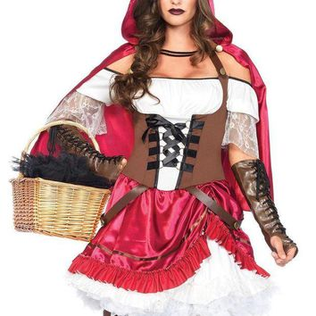 LMFH3W 2PC.Rebel Riding Hood,pick-up peasant dress,hooded cape in MULTICOLOR