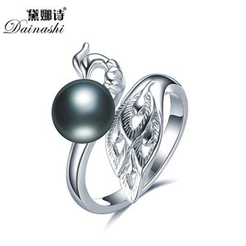 Dainashi Elegant Peacock Pearl Open Rings 100% Real Freshwater Pearl 925 Sterling Silver Rings For Women Engagement Rings 2018
