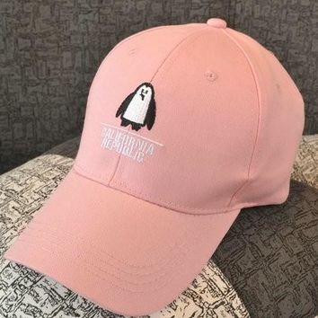 Fashion Summer women pink  baseball Cap with Embroidered penguin female black Sport Hat Cap Snapback Sport female peaked cap
