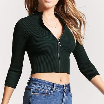Cropped High-Neck Cardigan