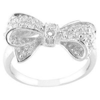 Silver Plated CZ Bow Ring Silver