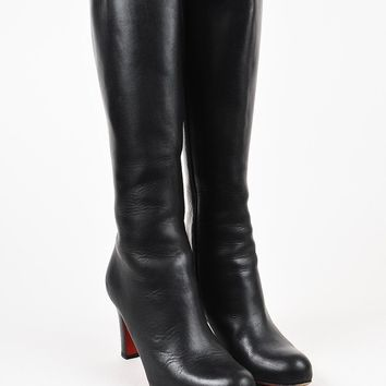 DCCK2 Christian Louboutin Black Leather Tall Heeled Boots