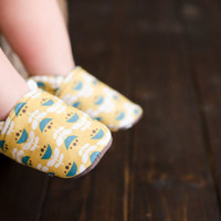 """Organic """"Yellow Flowers"""" Shoes - NB to 4T"""