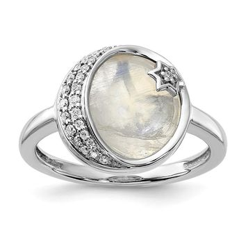 14k White Gold Diamond And Moonstone Moon And Star Ring