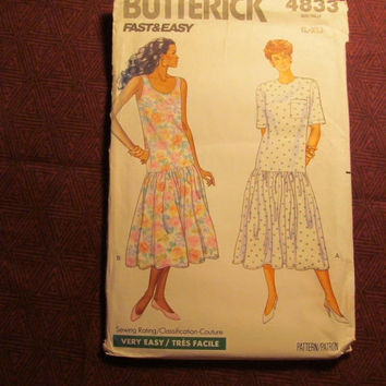 SALE Uncut 1990 Butterick Sewing Pattern, 4833! Large-XL/Women's/Misses/Sleeveless Dress/Loos Fitting/Dropped Waist/Flared/Petite/Dirndl Ski