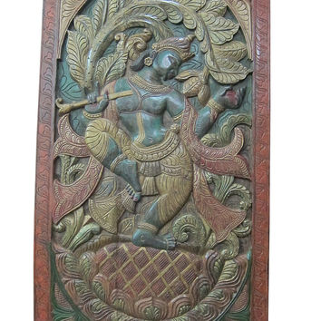 Indian Inspired Art Vintage Hand Carved Wood Dancing Krishna Wall Hanging 72x36