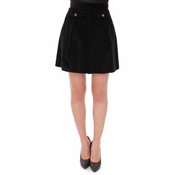 Dolce & Gabbana Black Cotton Manchester Mini Skirt