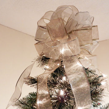 Large Sheer Gold and Silver Ribbon  Christmas Tree topper bow  6 ft. tails and 12 matching ornament bows