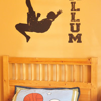 Soccer Player Wall Decal Silhouette and Personalized Name, Vintage
