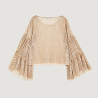 SHIMMERY T-SHIRT WITH VOLUMINOUS SLEEVES DETAILS