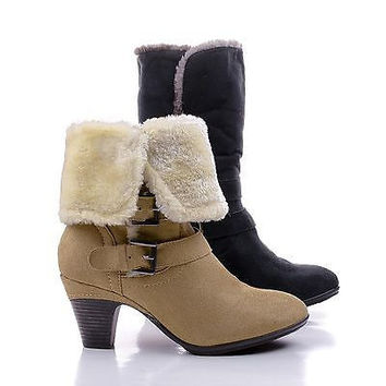 Belle04 By Bumper, Mid Calf Fold Over Faux Fur Lined Chunky Heel Boots