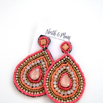 Studded Drop Earrings, Coral