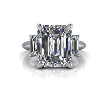 Russian Brilliants Pippa Three Stone Engagement Ring Emerald Cut 5 CTW