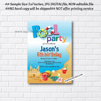 BEACH POOL Birthday Invitation , pool side swimming party invitation any age 1st 2nd 3rd 4th 5th 6th 7th 8th 9th 10th - card 777