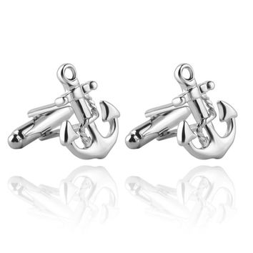 JEWELRYGIFT Anchor Cufflinks Jewelry for Women Man Best Friends Gift Jewellery Silver anchor male French shirt Cuff link