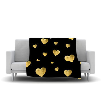 "Robin Dickinson ""Floating Hearts"" Gold Black Fleece Throw Blanket"