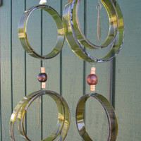 Recycled wine bottle wind chime, Juniper wood, Light green and Dark green, circle glass wind chime