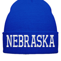 NEBRASKA EMBROIDERY HAT - Beanie Cuffed Knit Cap