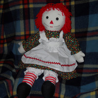 New 25 inch Raggedy Ann Doll Handmade with Love with Blue Dress