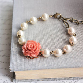 Coral Rose Bracelet Bridesmaids Jewelry Bracelet with pearls Flower Bracelet Wedding Jewelry Maid of Honor Gift Romantic Bridal Accessories