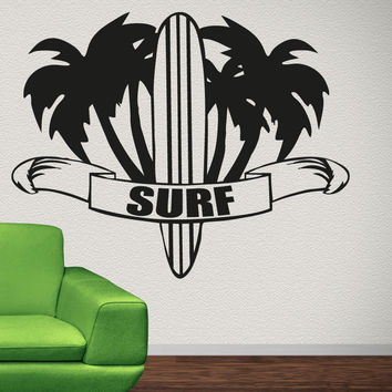 Vinyl Wall Decal Sticker Palm Trees and Surf #OS_AA1233