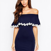 Blue Off-Shoulder Ruffled Lace Bodycon Dress